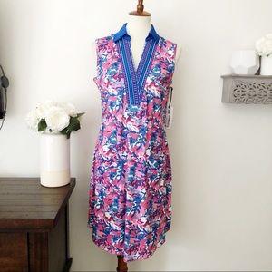 Jofit floral sleeveless golf dress blue pink Med